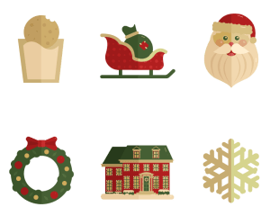 Set of Santa, sleigh, wreath, and snowflake illustrations