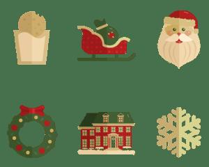 Set of Santa, sleigh, wreath, and snowflake illustrations