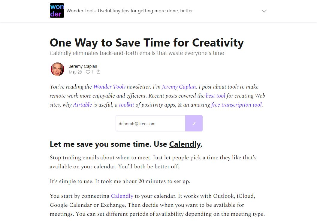 May 28, 2020 edition: save time for creativity.