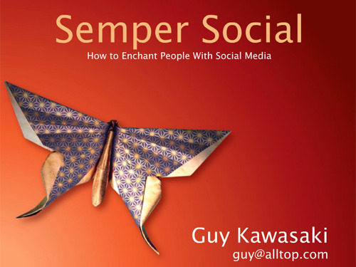 Title slide for Semper Social with stylized butterfly