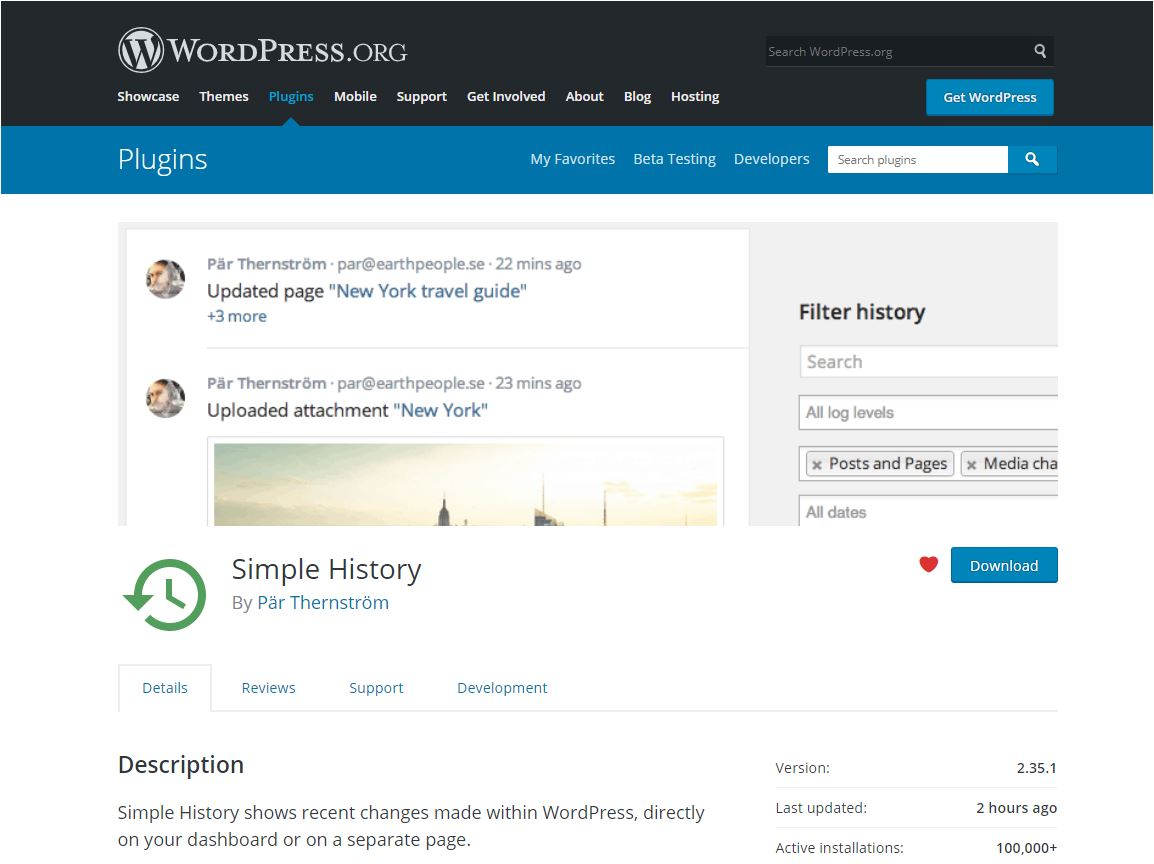 Simple History plugin page on the WordPress plugin repository.