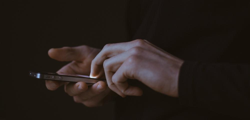 Scrolling through app on smartphone