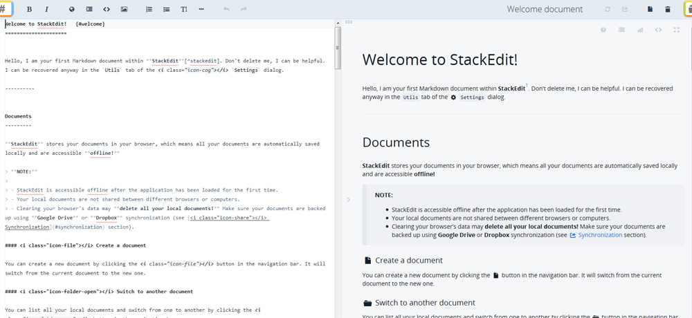 StackEdit markup editor layout screen