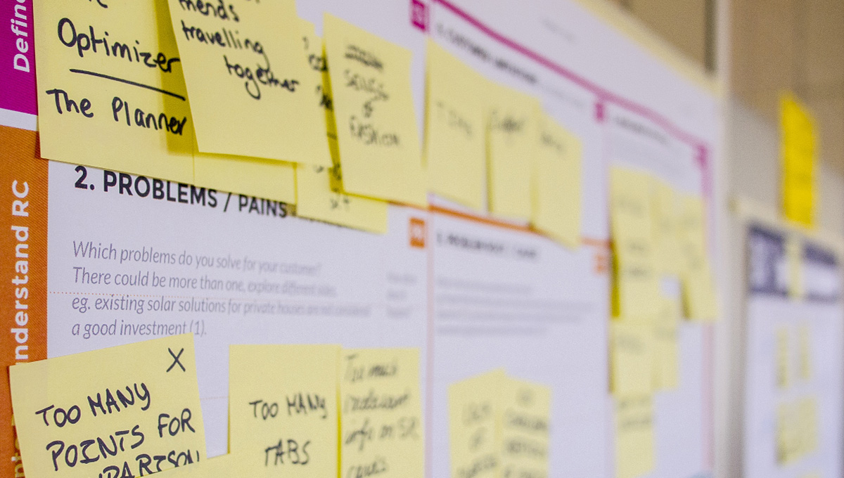 yellow sticky notes cover a planning board.