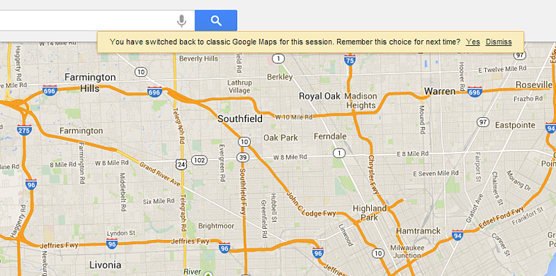 Google Maps switch back to current version message