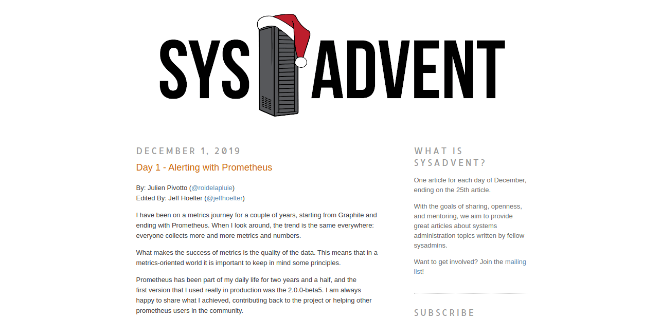Sys Advent 2019 calendar.