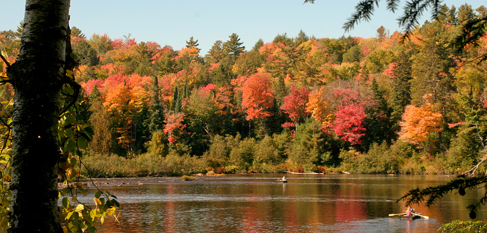 Tahquamenon State Park: two canoeists on the river against the red, orange and gold colors of the trees in fall