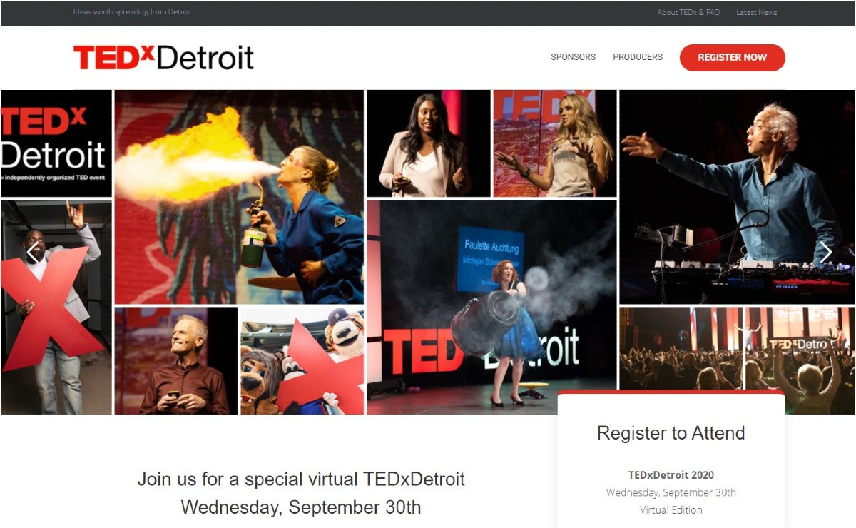 collage of speakers from previous TEDxDetroit events.