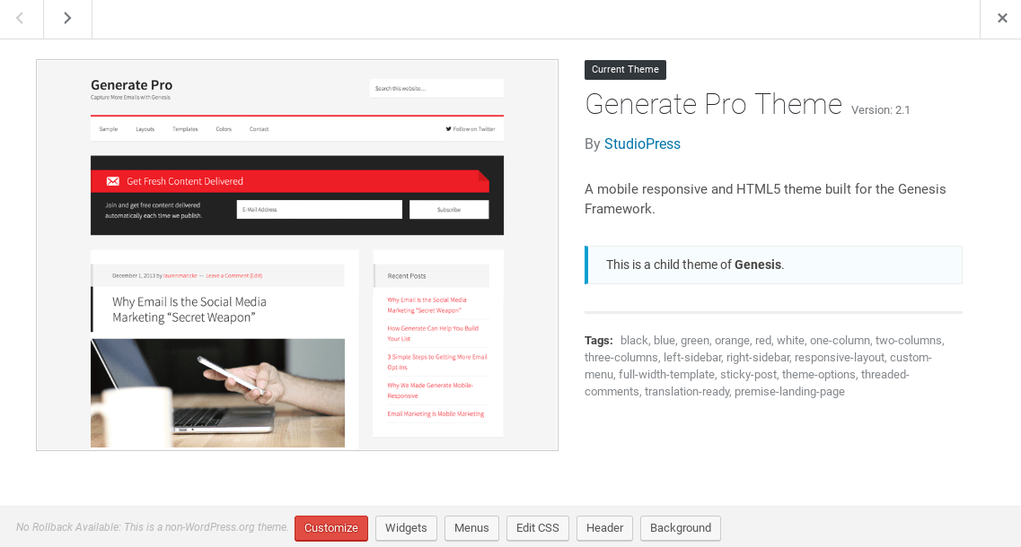 Generate Pro Theme details, with info on theme