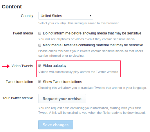 Twitter Content settings options