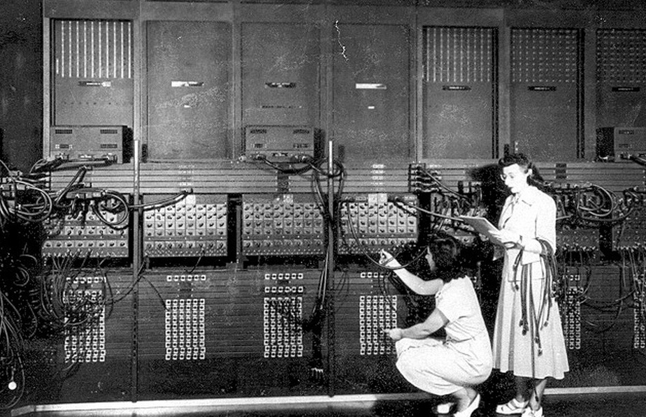 Esther Gerston and Gloria Gordon work with the ENIAC computer