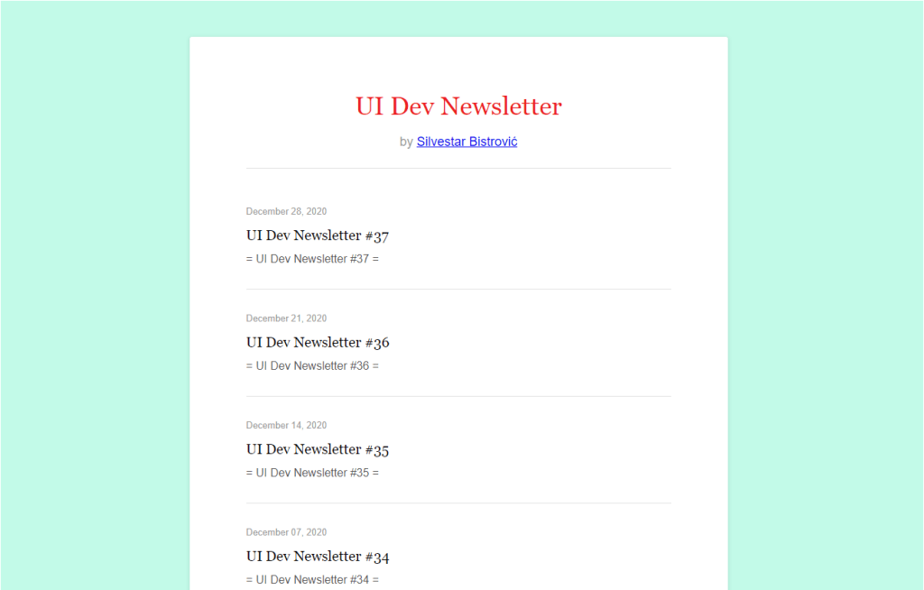 UI Dev newsletter.