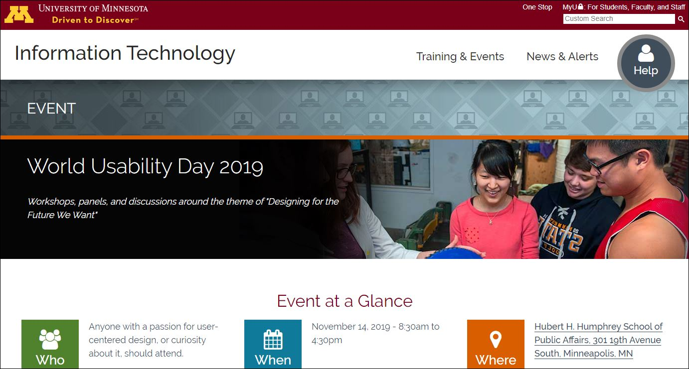 University of Minnesota World Usability Day 2019