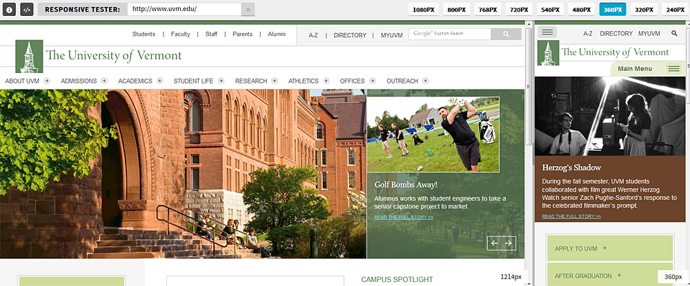 University of Vermont responsive design: desktop view and smartphone view side-by-side