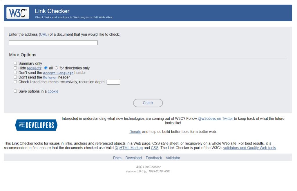 W3C Link Checker interface