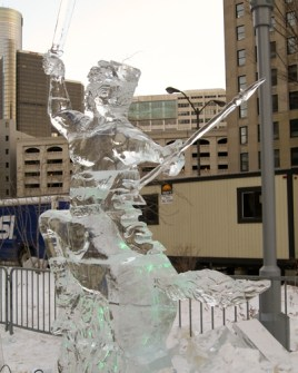 Warrior with spear ice sculpture.