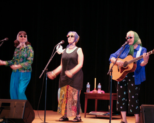 Chenille Sisters on stage at Morris Lawrence Building