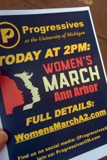 Progressives at the University of Michigan flyer promoting the Women's March at 2pm in Ann Arbor