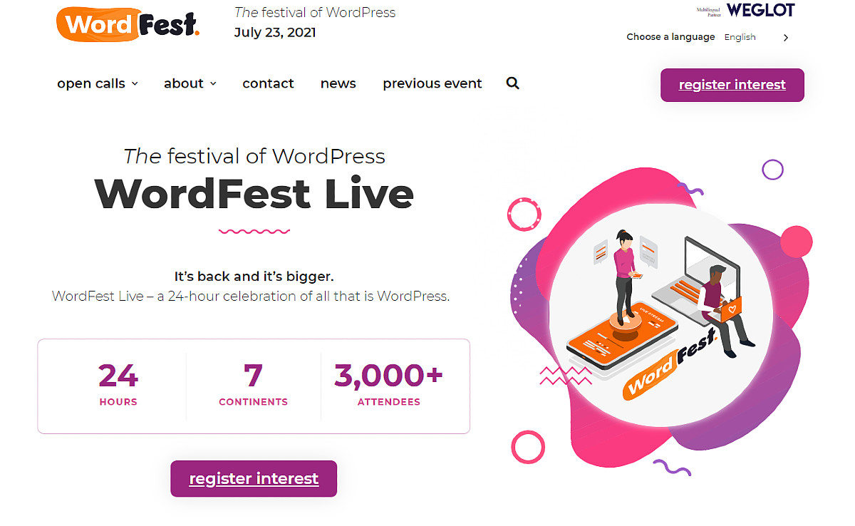 The festival of WordPress, WordPress Live, a 24-hour celebration of all that is WordPress returns July 23, 2021