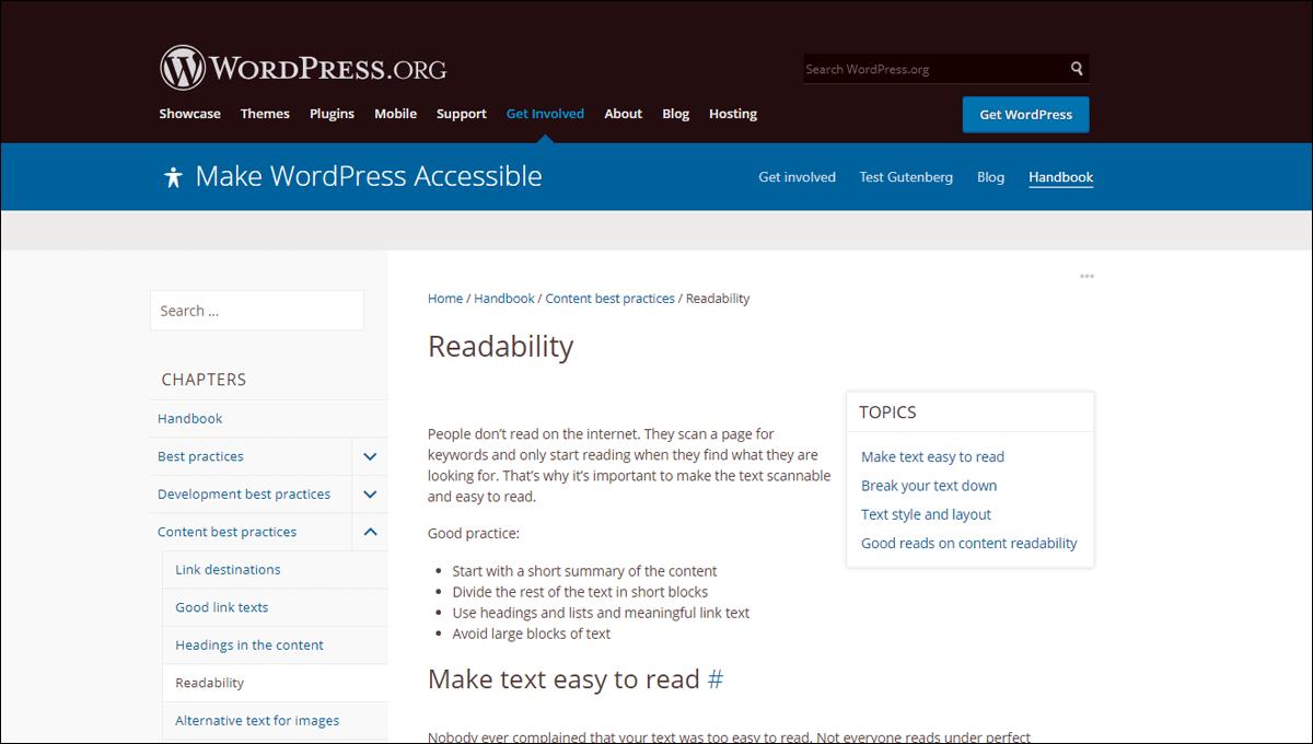 Readability section of the WordPress Accessibility Handbook.