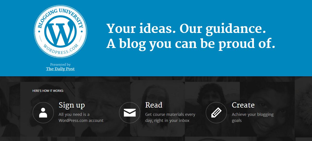 WordPress.com Blogging University courses