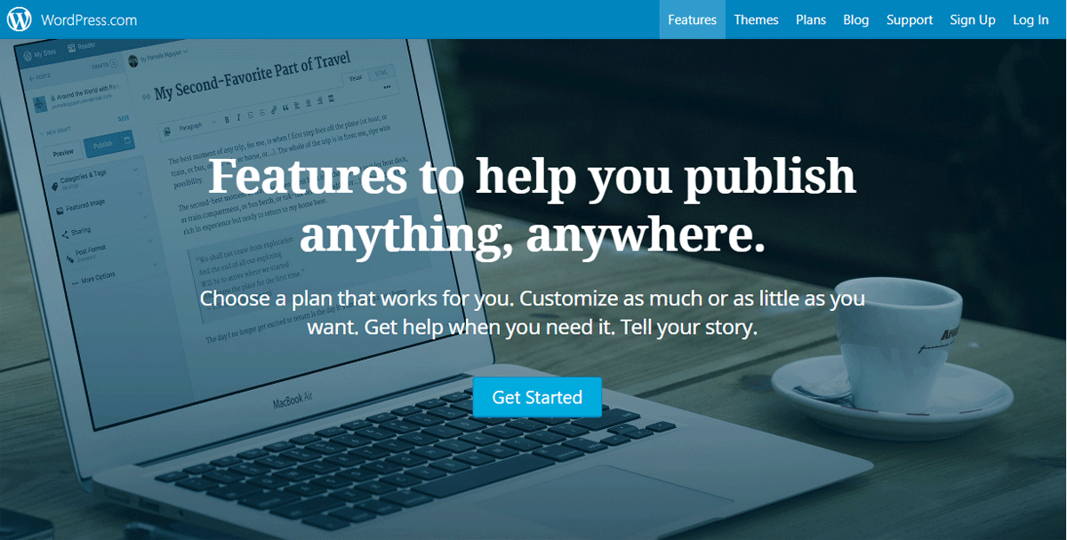 WordPress dot come has features to help you publish anything, anywhere