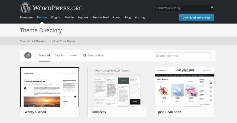WordPress theme repository highlighting Twenty Sixteen themes
