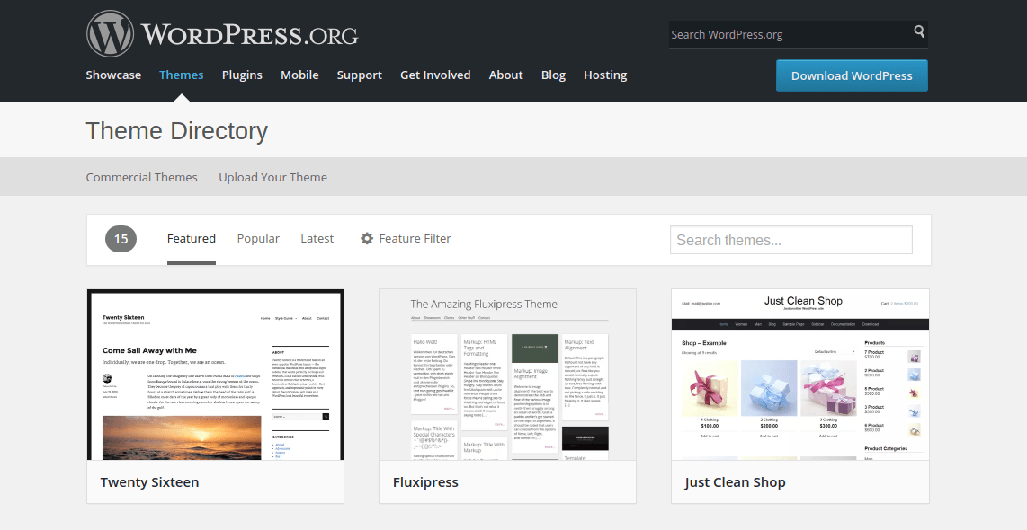 WordPress theme repository highlighting Twenty Sixteen  themes