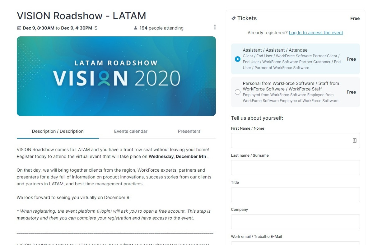 Workforce Software VISION 2020 LATAM event page detailing event info and registration.