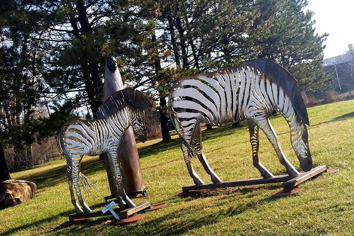 White and black painted steel zebras appear to be grazing in the grass.