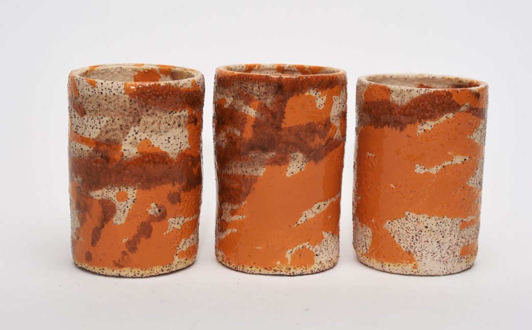 """Three tumblers in grey decorated by the song """"We are Family"""""""