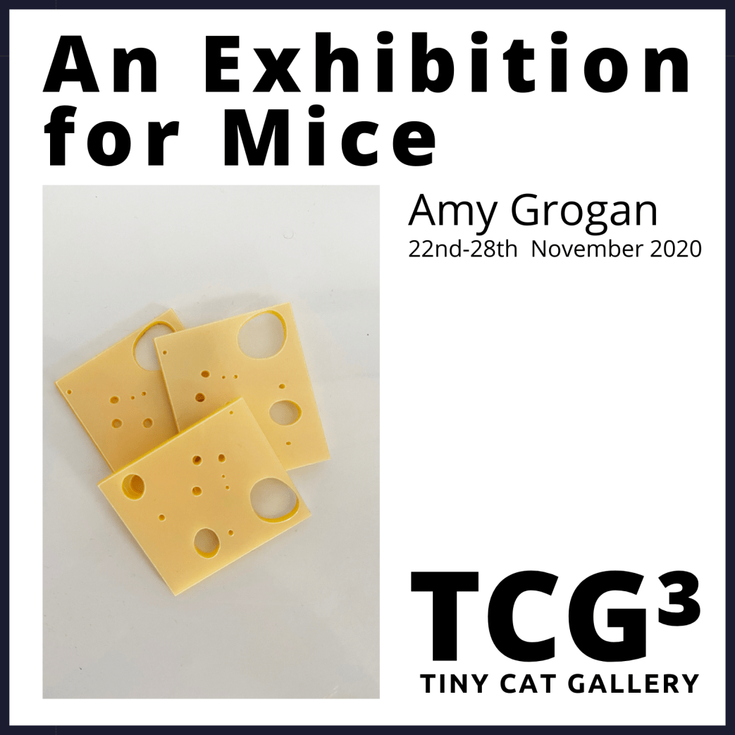 an exhibition for mice with cheese and lamb chops by Amy Grogan