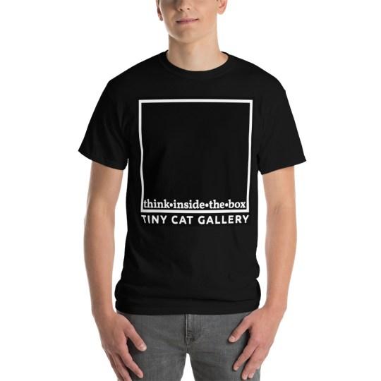 tiny gallery logo on a black t-shirt stylish merchandise