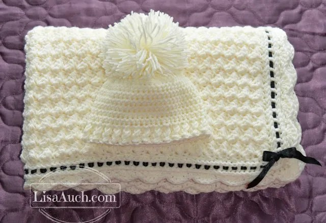 Soft and Cozy Handmade Baby Blanket and Hat.