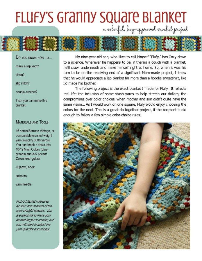 Flufy's Granny Square Blanket crochet pattern at Polka Dot Cottage
