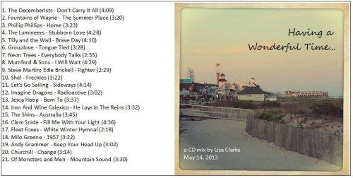 Spring/Summer 2013 CD Mix: Having a Wonderful Time...