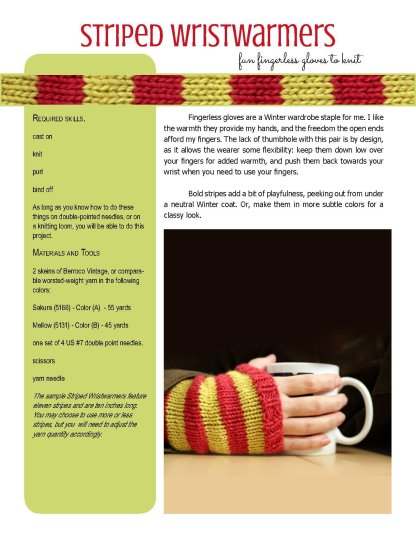 Striped Wristwarmers knitting pattern at Polka Dot Cottage