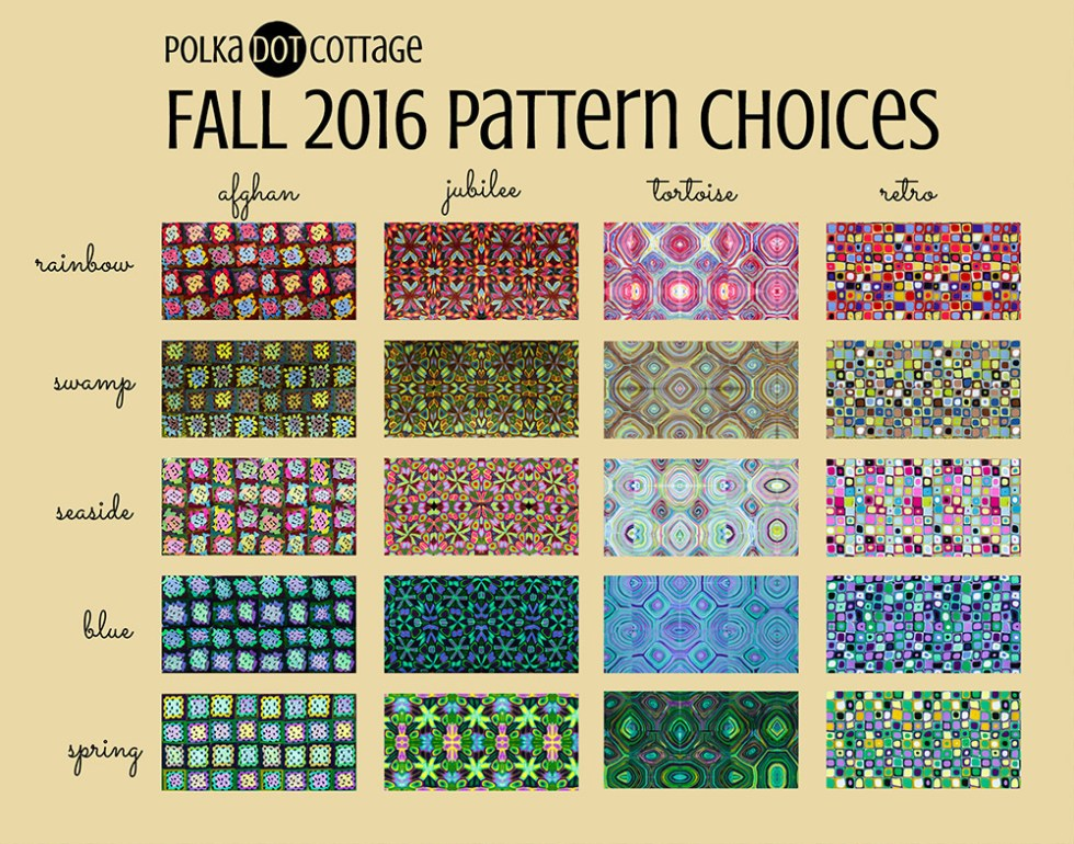 Polka Dot Cottage pattern choices for custom work