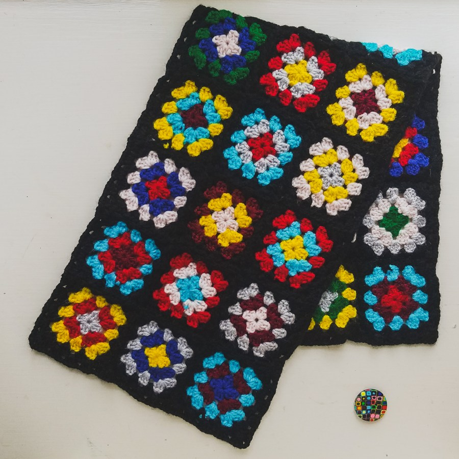 Vintage Inspired Granny Square Neckwarmer and Polymer Clay Button