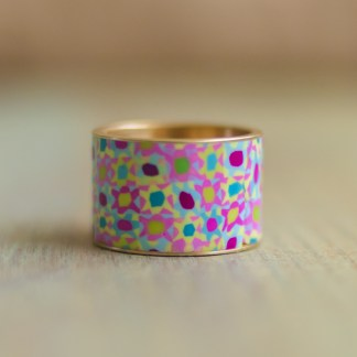 Polka Dot Cottage Channel Ring in Seaside Calico