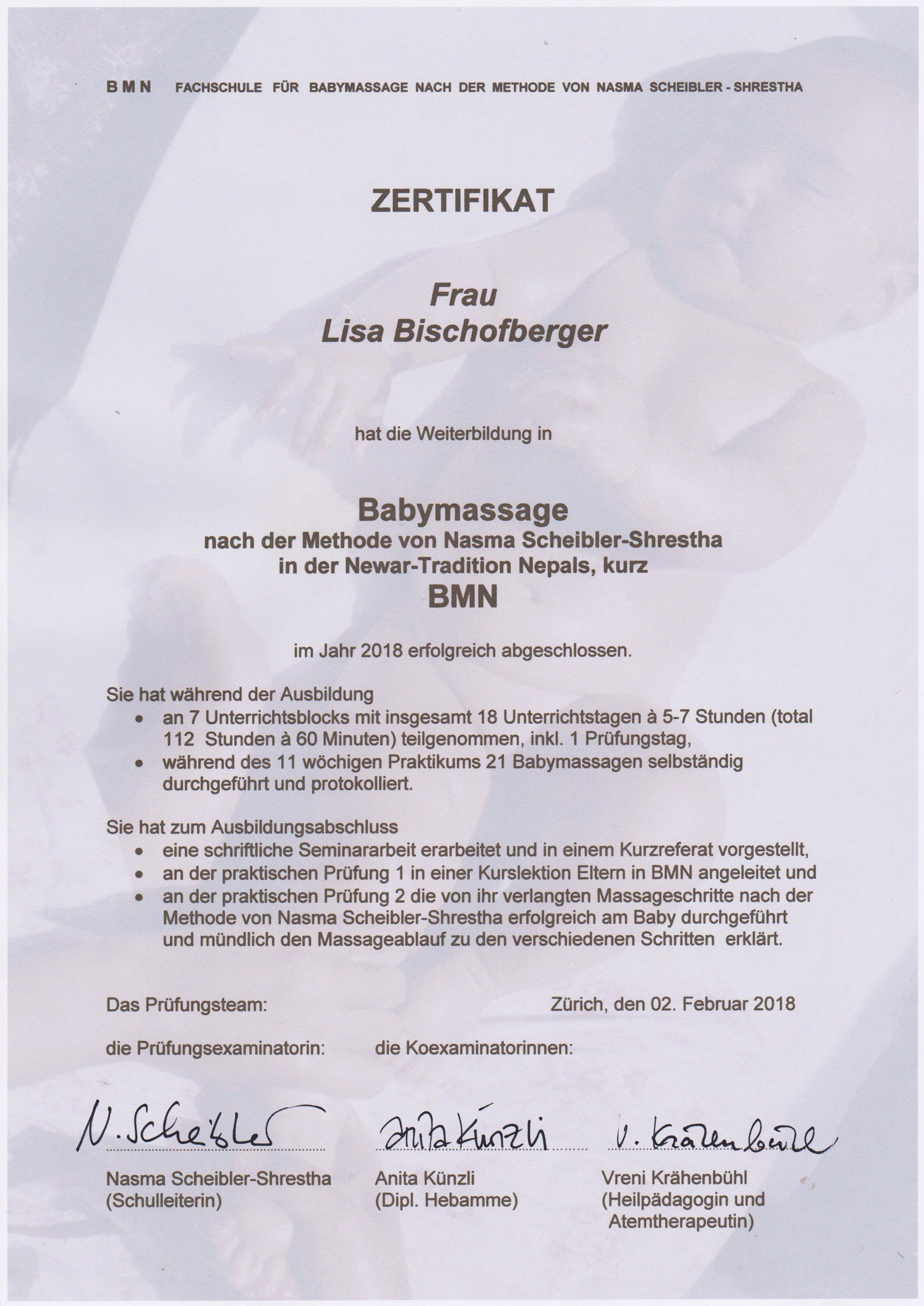 Zertifikat Babymassage nach der Methode von Nasma Scheibler-Shrestha in der Newar-Tradition Nepals, kurz BMN