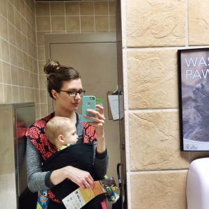 me and baby in bathroom