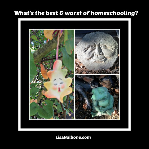 What's the Best and Worst Thing About homeschooling? LisaNalbone.com Photo collage of happy sun, sad frog, worried leaf