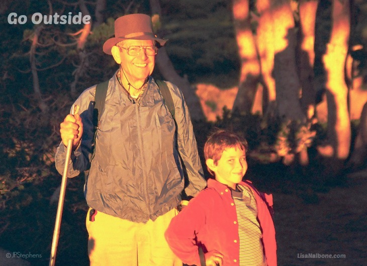 Dale Stephens and his grandpa on a hike. Sond't Forget to Go Outside at LisaNalbone.com. Photo copyright JP Stephens