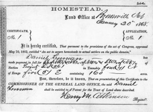 1st Homesteading Certificate given to Daniel Freeman in Beatrice, Nebraska 1963