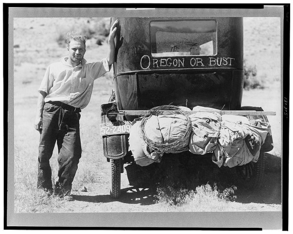 Vernon Evans (with his family) of Lemmon, South Dakota, near Missoula, Montana on Highway 10. Leaving grasshopper-ridden and drought-stricken area for a new start in Oregon or Washington. Expects to arrive at Yakima in time for hop picking. Live in tent. Makes about two hundred miles a day in Model T Ford