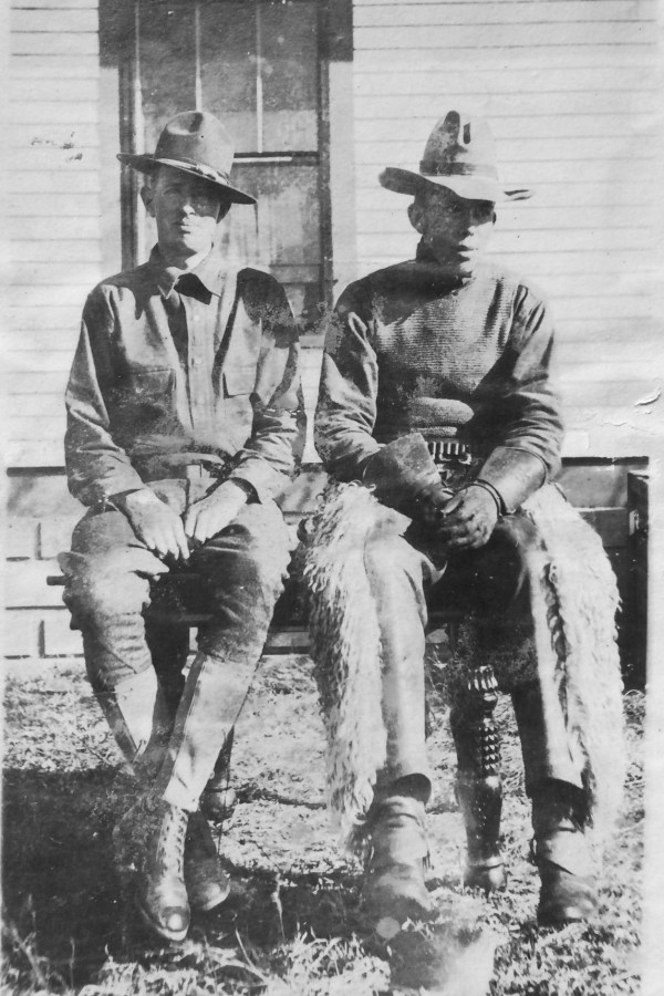 Bill Whitcher and Bill Whiting, home on furlough 1918