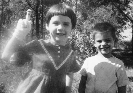 With my brother (when I was about age 5), innocently channeling my inner Eminem.