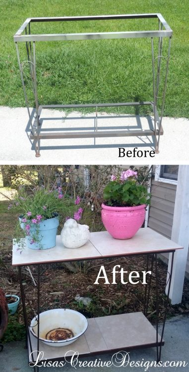 A Repurposed Fish Tank Stand Becomes Outdoor Decor