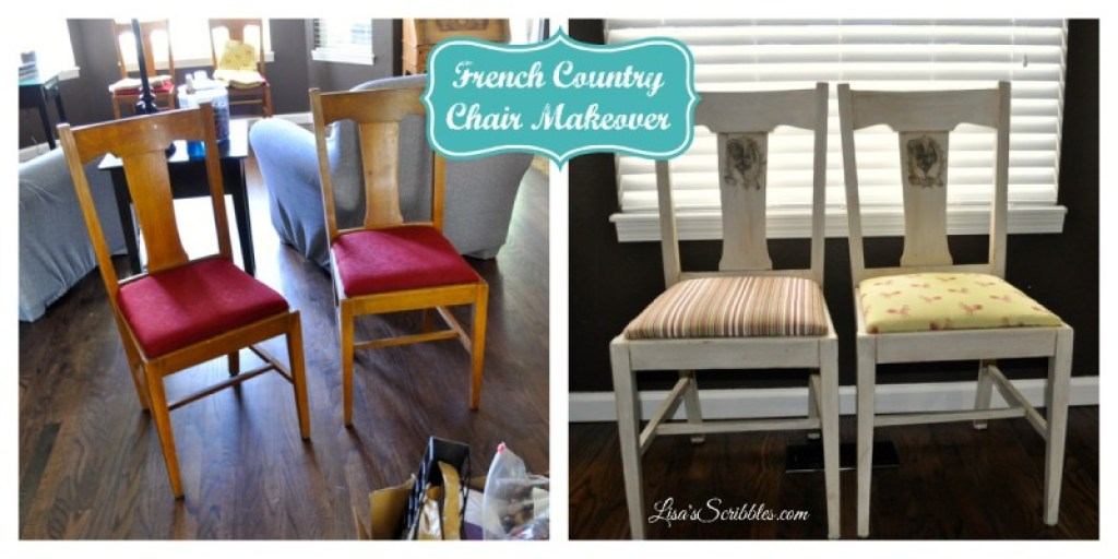French Country Chair makeover collage
